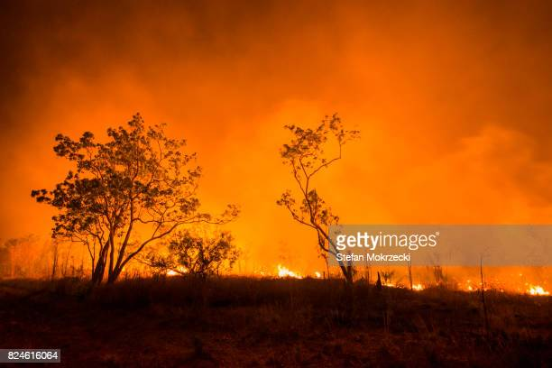 A Bushfire Or Wildfire Burning In Outback Australia