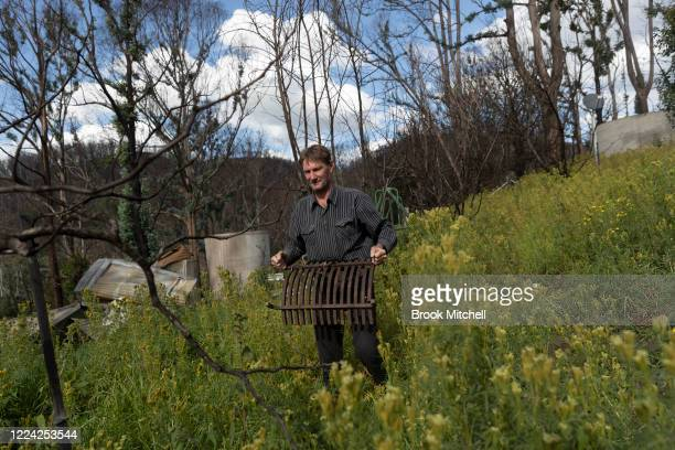 Bushfire survivor Ian Livingston is pictured amid the ruins of his home which was lost during the New Year's eve bushfires on May 09 2020 in Cobargo...