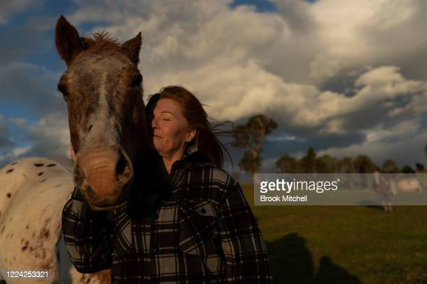 Bushfire survivor Marylin Mills is pictured on her Cobargo property on May 09 2020 in Cobargo Australia Marylin Mills and her partner Mick Thompson...