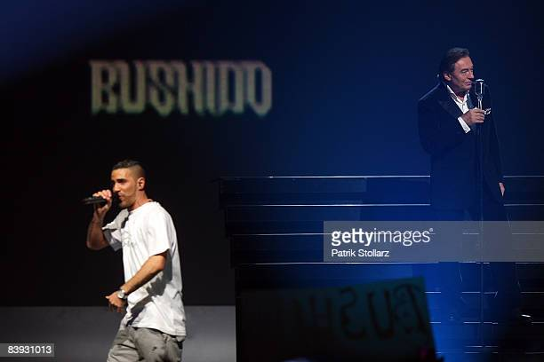 Bushido and Karel Gott perform on the stage during the Dome 48 on December 05 2008 in Duesseldorf Germany