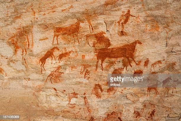 bushman cave painting - cave stock pictures, royalty-free photos & images