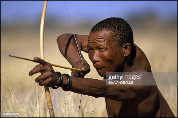 Bushman Nate gets ready to go hunting in Botswana in September 2001