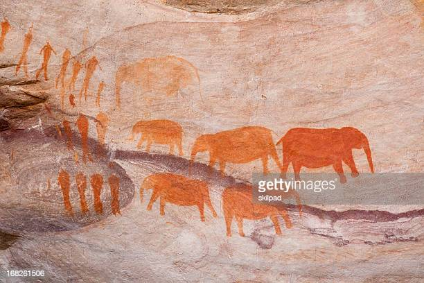 bushman rock art in south africa - cave painting 個照片及圖片檔