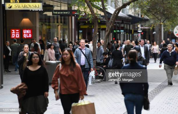 Busier streets in the CBD as shoppers and workers return to Pitt Street shopping mall on May 28, 2020 in Sydney, Australia. Hundreds of retailers are...