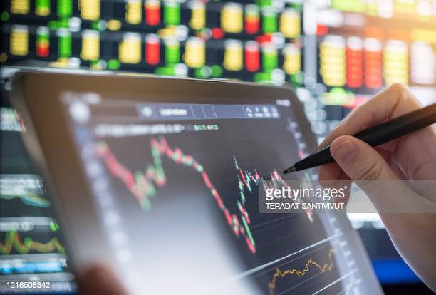 business analysis stock graph backtest in crisis covid-19 for investment in stockmarket and finance business planning selective stock for stockmarket crash and financial crisis - stock trader stock pictures, royalty-free photos & images