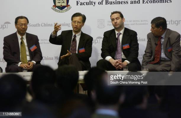 Business and Economic Policy Seminar Series 2004/05 takes place at Conrad Hotel Admiralty Pictured are Rufin Mak Raymond Fan Waimin Jonathan Beard...