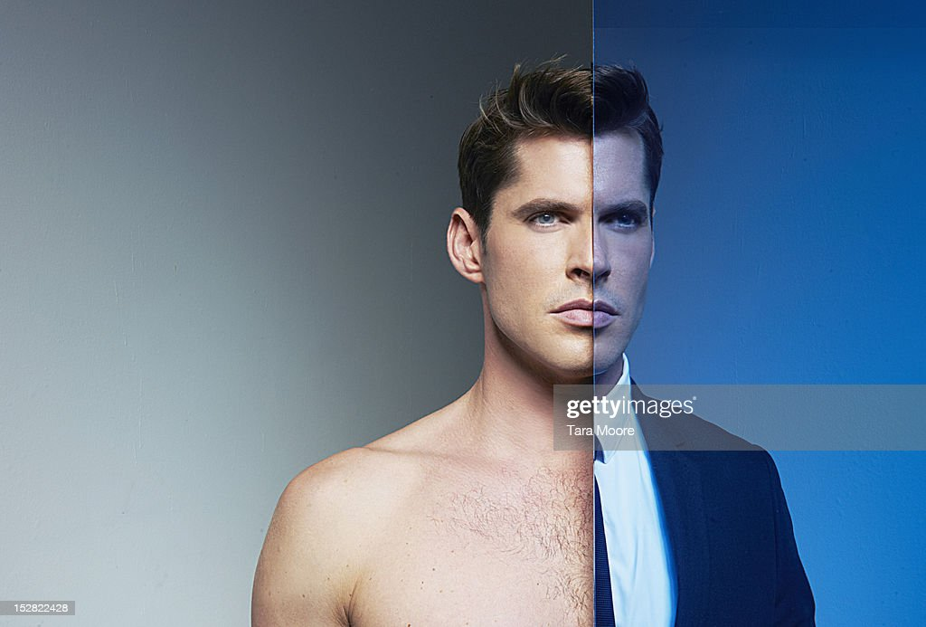 business and naked man with mirror image : Stock Photo