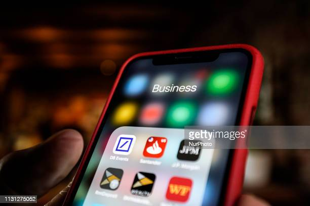 Business applications are seen on an iPhone screen in this photo illustration on March 17, 2019 in Warsaw, Poland.