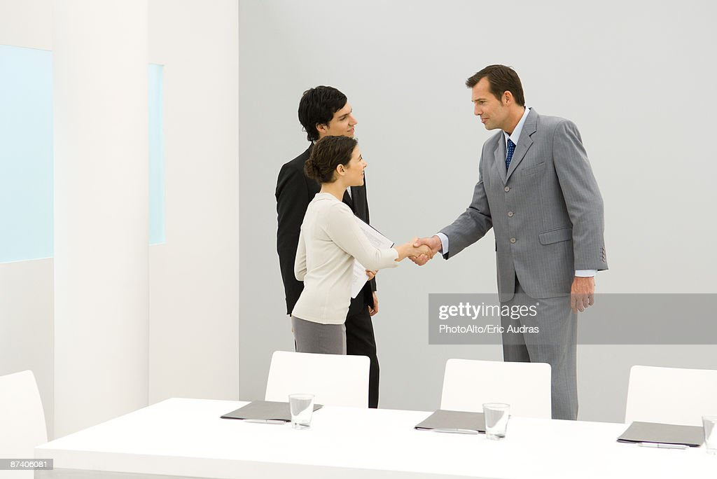 Business associates shaking hands : Bildbanksbilder