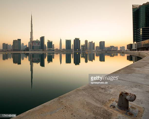 Business Bay with Cityscape and Burj Khalifa