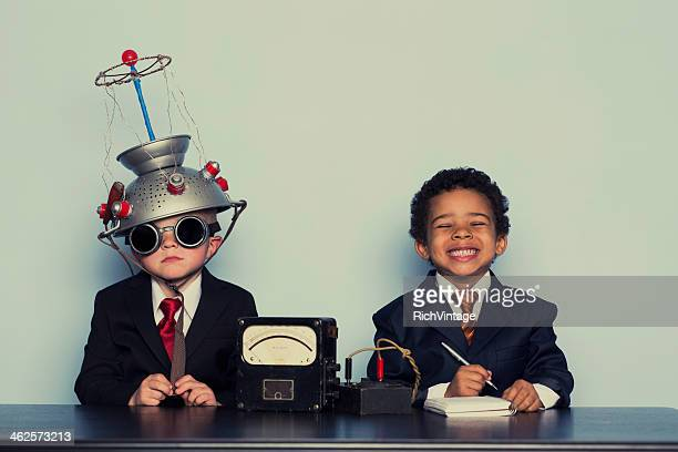 business boys conduct interview in office - genius stock pictures, royalty-free photos & images