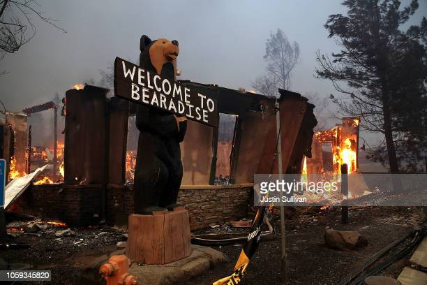 A business burns as the Camp Fire moves through the area on November 8 2018 in Paradise California Fueled by high winds and low humidity the rapidly...