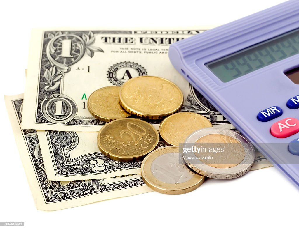 Business calculator stack money isolated : Stock Photo