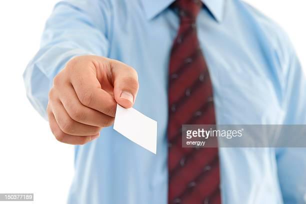 Visitenkarte-Geschäftsmann gibt blank sign