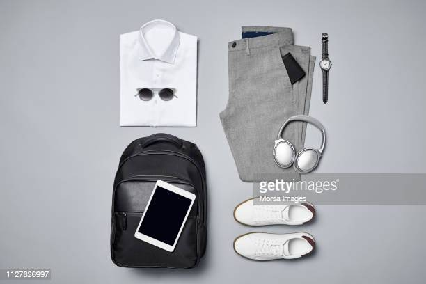 business casual with technologies and accessories - businesswear stock pictures, royalty-free photos & images