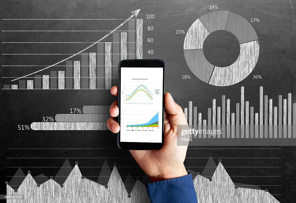 Business chart on blackboard with smart phone in human hand : Stock Photo