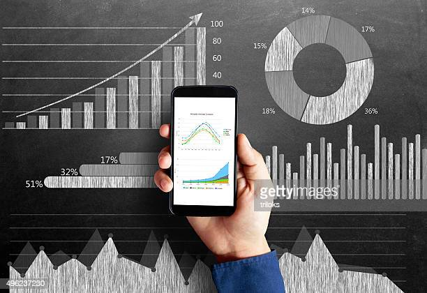 business chart on blackboard with smart phone in human hand - pie chart stock pictures, royalty-free photos & images