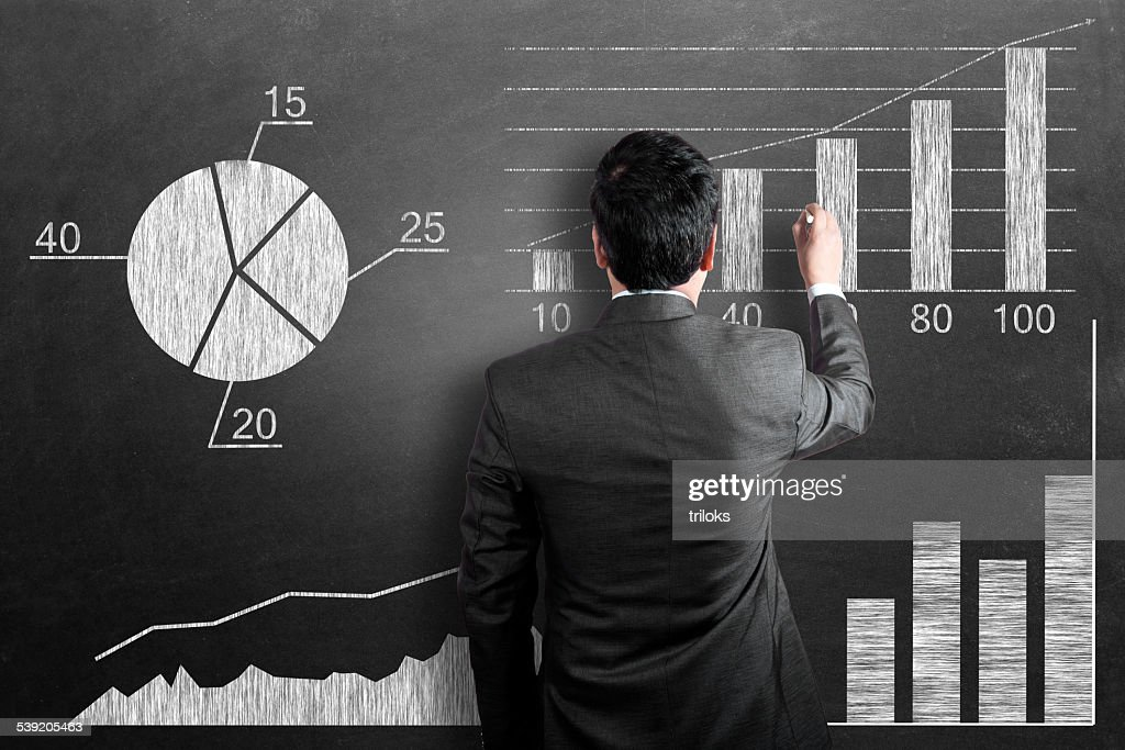 Business chart on chalkboard : Stock Photo