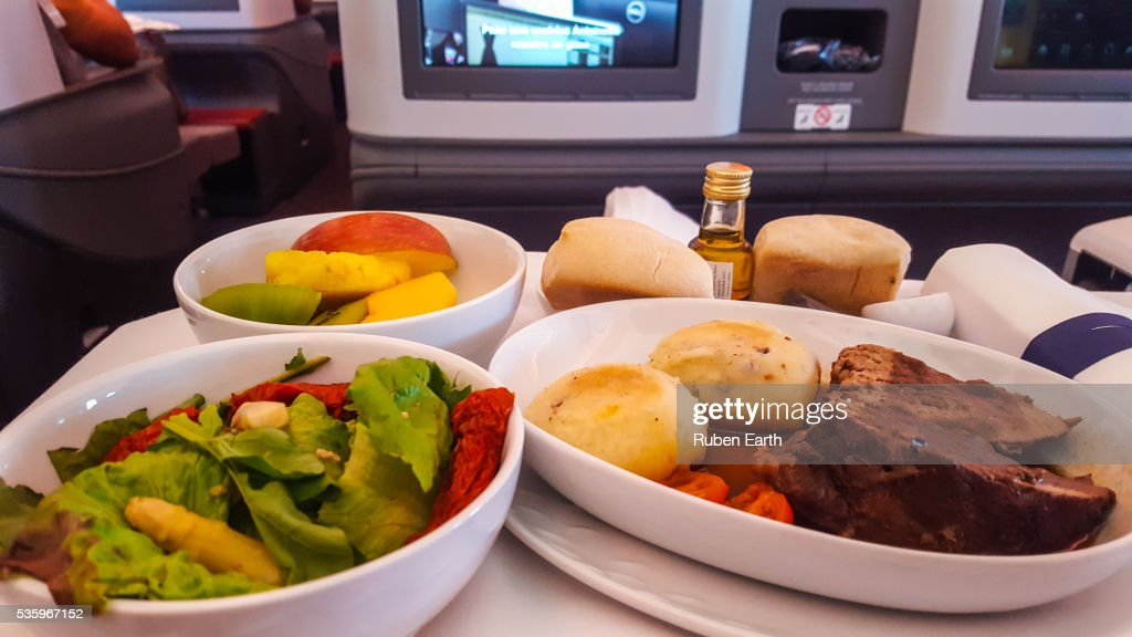 Business class meal at the airplane : Stock Photo