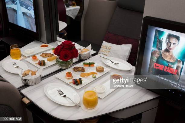 Business Class meals and luxury seating in a Qatar Airways Airbus A3501000 at the Farnborough Airshow on 18th July 2018 in Farnborough England