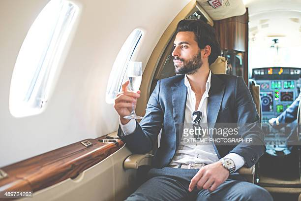 Business class of private jet airplane