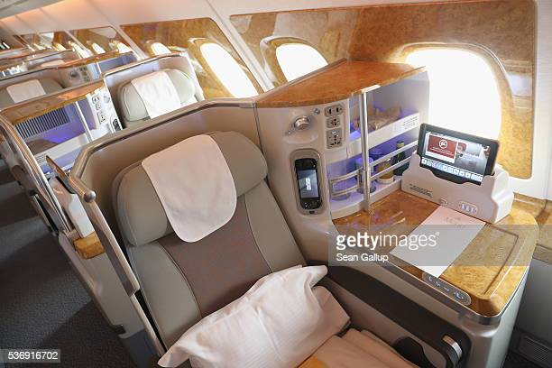 Business class seating is pictured on board an Emirates A380 passenger plane at the ILA 2016 Berlin Air Show on June 1 2016 in Schoenefeld Germany...