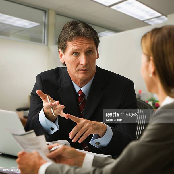 Business colleagues going over report