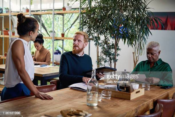 business colleagues having a project meeting - sally anscombe stock pictures, royalty-free photos & images