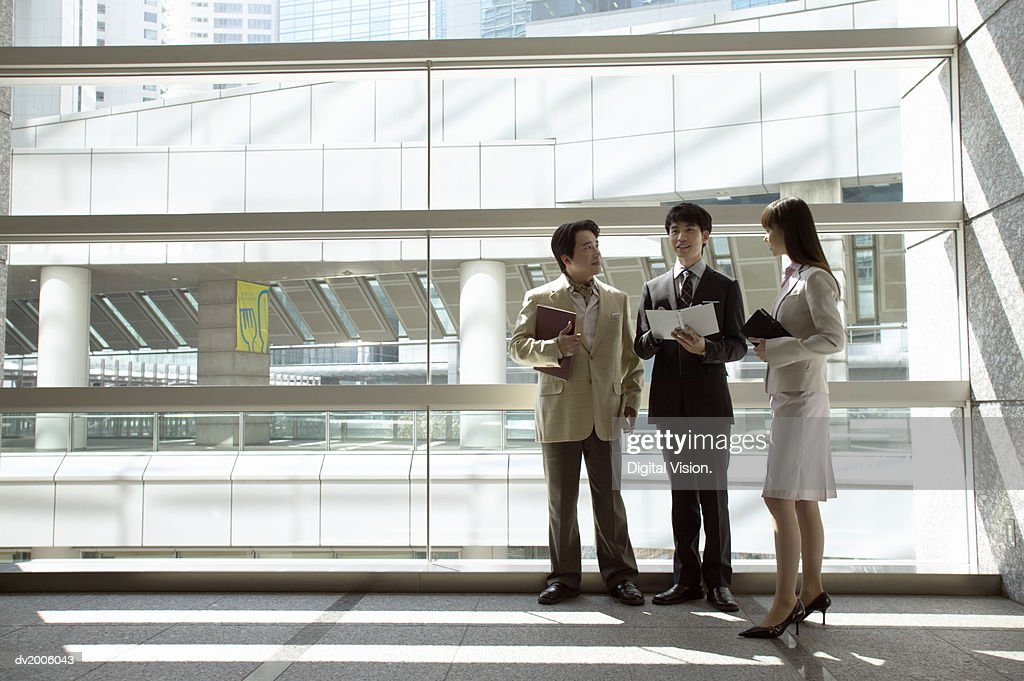 Business Colleagues Talking in an Office by a Large Window : Stock Photo