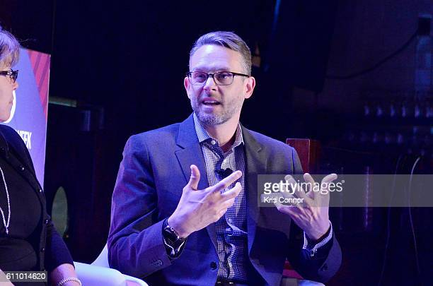 Business Communications Thomson Reuters Paul Thomas speaks onstage at the The Future of Employee Engagement panel at Lucille's at BB King during 2016...