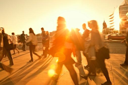 Business Commuters Walking Home After Work, Sunset Backlit, Blurred Motion 171581826