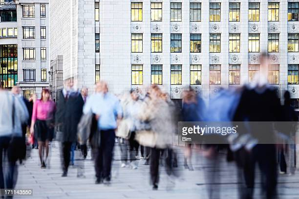 Business Commuters Walking in London Financial District, Blurred Motion