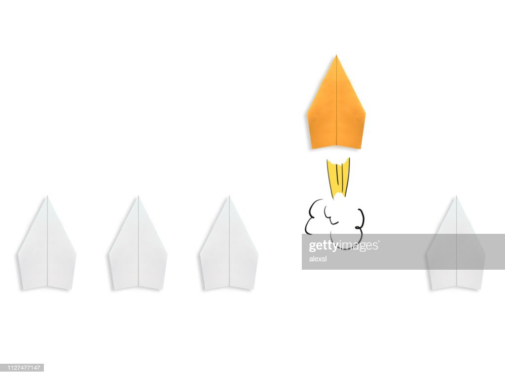 Business competition winner paper plane rocket creative bright idea innovation different : Stock Photo