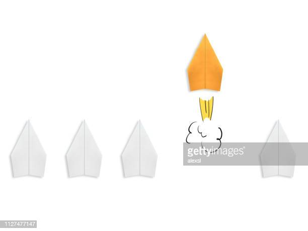 business competition winner paper plane rocket creative bright idea innovation different - solutions stock pictures, royalty-free photos & images