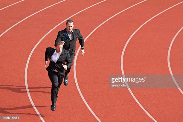 business competitors on sports track