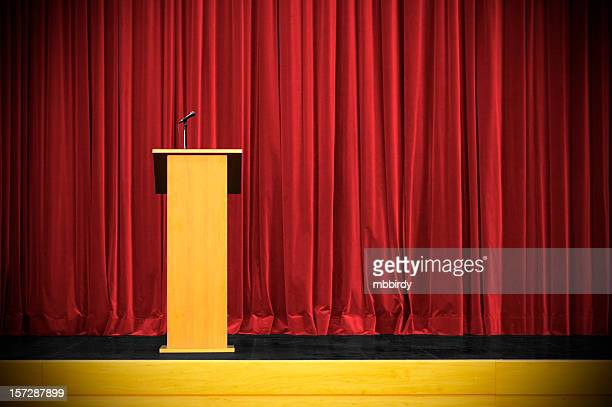 business conference with rostrum - press conference stock pictures, royalty-free photos & images
