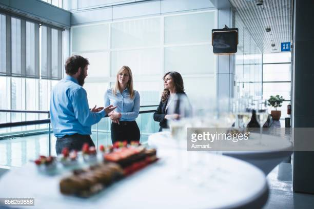 Business conversation during break