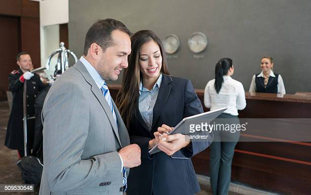 Business couple at a hotel