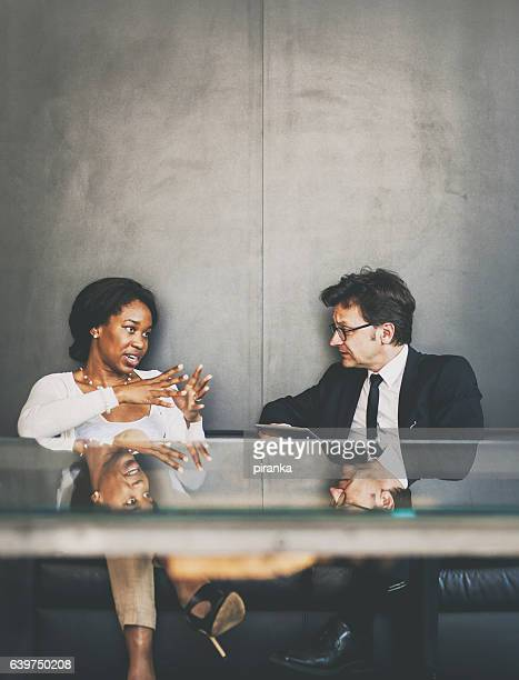 Business couple in the office lounge