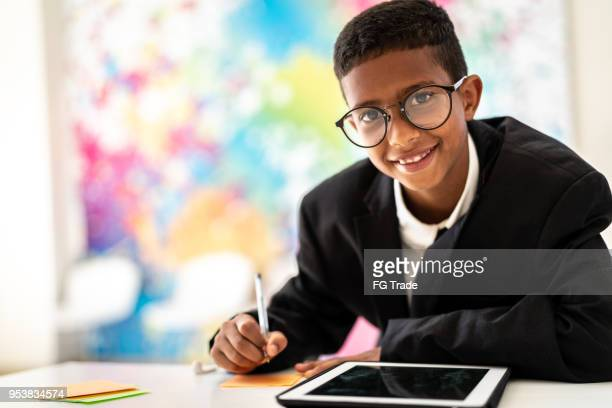 business cute boy writing ideas - inventor stock pictures, royalty-free photos & images