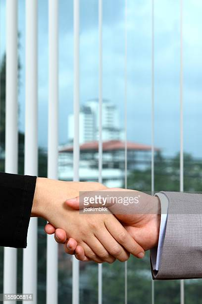 Business deal handshake between a man and a woman