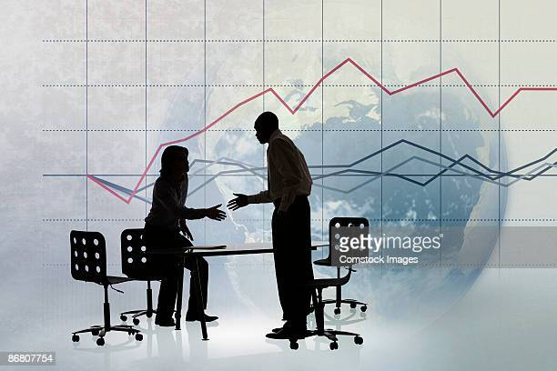 Business deal with line graph and globe