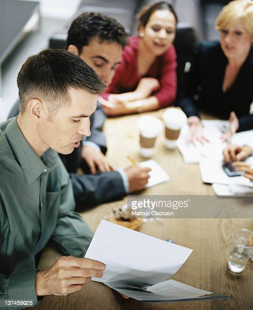 Business discussion over coffee