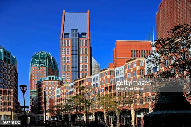 business district in the hague, south holland, netherlands, europe - den haag stock-fotos und bilder