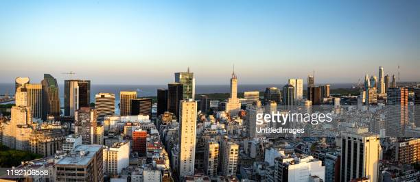 business district of buenos aires city at dusk - buenos aires stock pictures, royalty-free photos & images