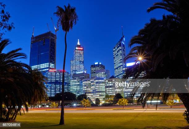 Business district of Perth illuminated at night