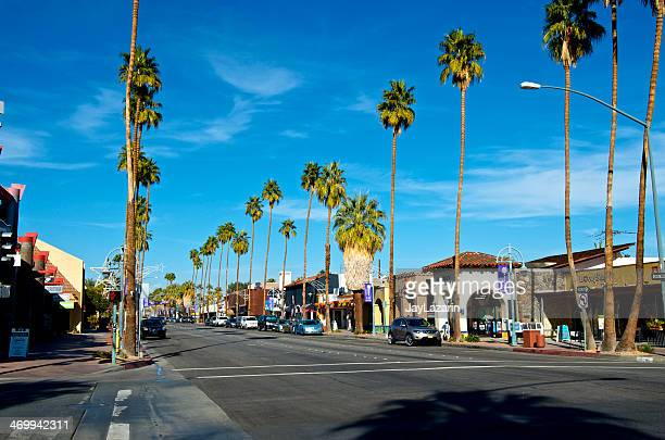 business district street scene, palm springs california, usa - palm springs california stock pictures, royalty-free photos & images