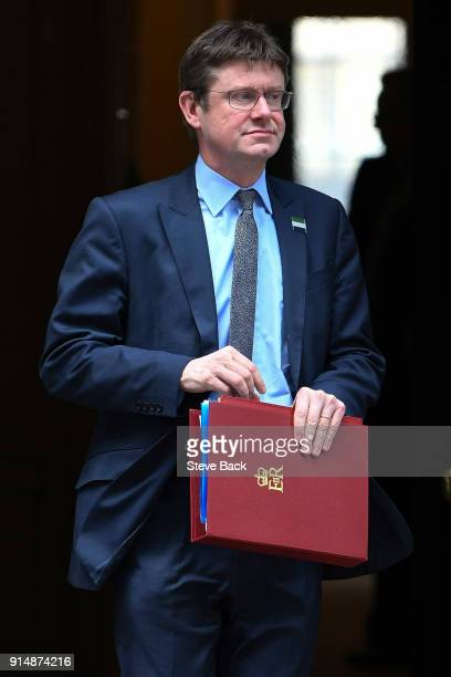 Business Energy and Industrial Strategy Secretary Greg Clark leaves 10 Downing st after the weekly cabinet meeting on February 06 2018 in London...