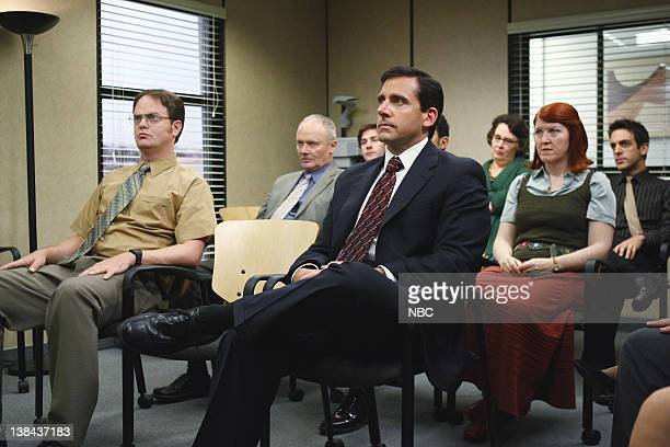 THE OFFICE Business Ethics Episode 2 Pictured Rainn Wilson as Dwight Schrute Creed Bratton as Creed Bratton Steve Carell as Michael Scott Kate...