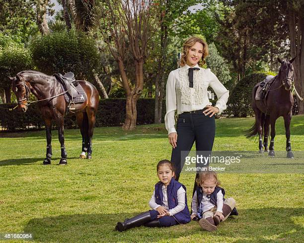 Business executive Angelica Fuentes is photographed with daughters Valentina and Mariaignacia for Vanity Fair Magazine on March 26, 2015 in Mexico...